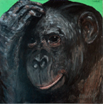 image of acrylic painting Endangered - Chimp by Carron Berkes