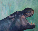 image of acrylic painting Endangered - Hippo by Carron Berkes