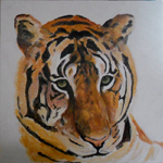 image of acrylic painting Endangered - Tiger by Carron Berkes