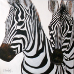 image of acrylic painting Endangered - Zebra by Carron Berkes