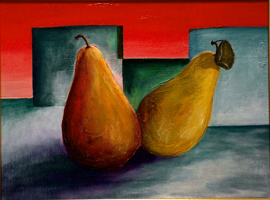 image of acrylic painting Pears by Carron Berkes
