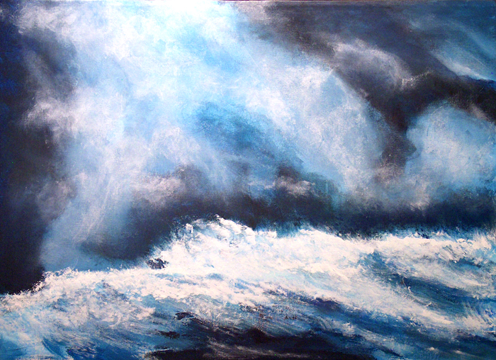 image of acrylic painting Thundering Surf by Carron Berkes