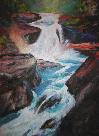 image of acrylic painting Waterfall II by Carron Berkes