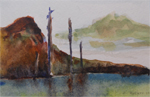 image of watercolour painting Totem Sentinels by Carron Berkes