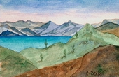 image of watercolour painting Desert Lake by Carron Berkes