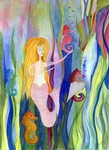image of watercolour painting Mermaid Series - The Social by Carron Berkes